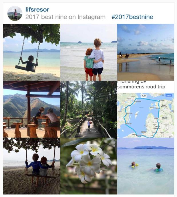 Nio småbilder ihopklippta från Instagram. Överst är två bilder från strand i Thailand och en från strand i Kap Verde.