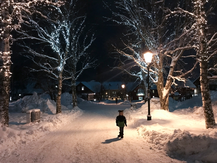 Barn omgiven av snö och träd med belysning.