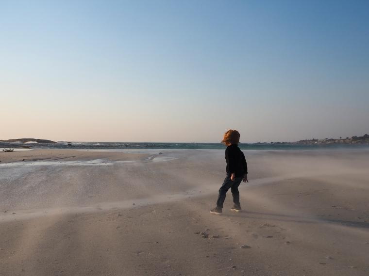 Ett barn som står i blåsten på stranden.
