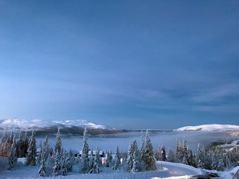 Utsikt mot Åresjön med dimma.