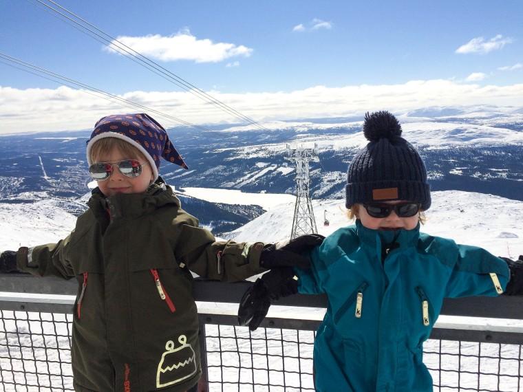 Två barn framför en utsikt över kalfjäll.