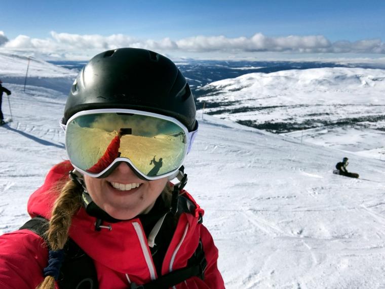 Selfie på skidåkare