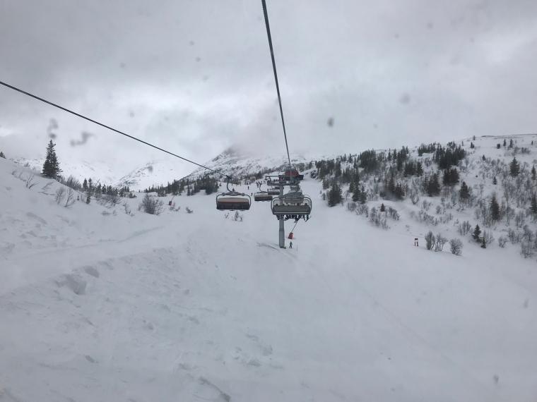 Bild tagen ur en sittlift. Mulet och grått väder.