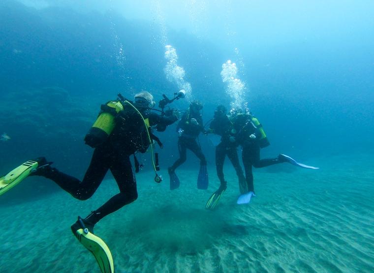 En dykare som tar kort på 3 andra dykare.