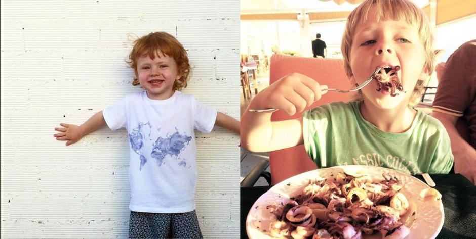 Två barn var av en äter bläckfisk.