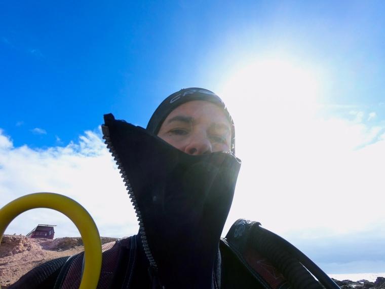 Selfie på en dykare