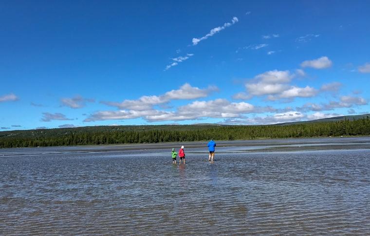 Två barn och en vuxen som vadar i en sjö.