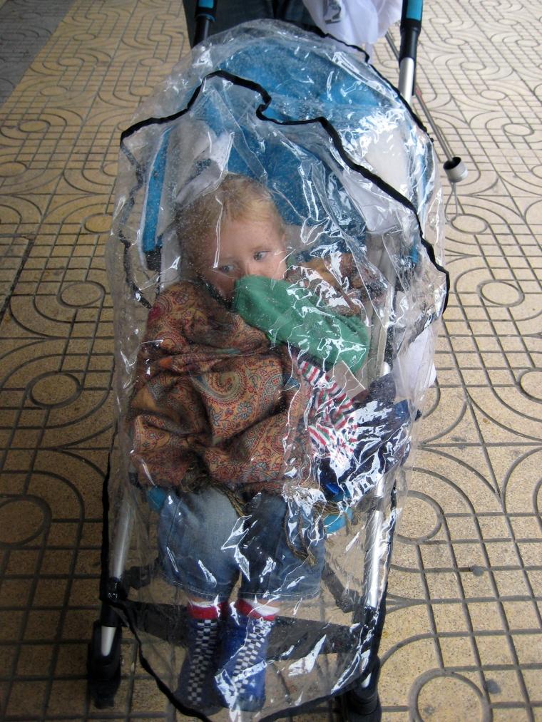 Ett barn i en barnvagn med regnskydd.