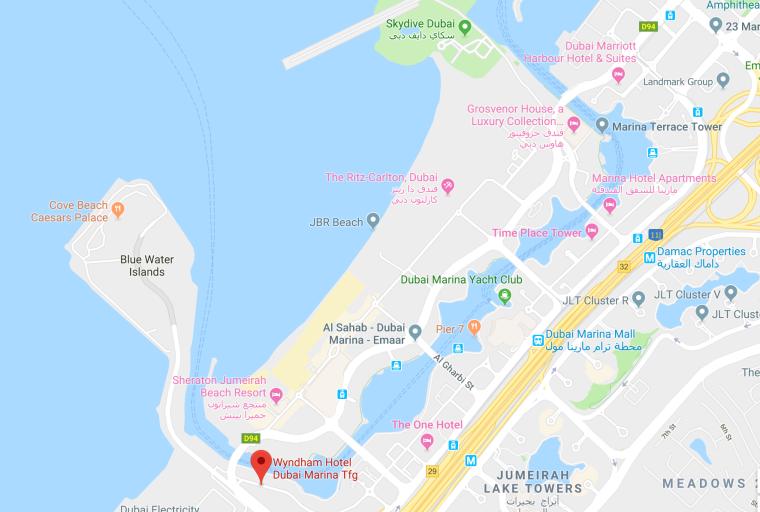 Karta med Wydham hotel utmarkerat