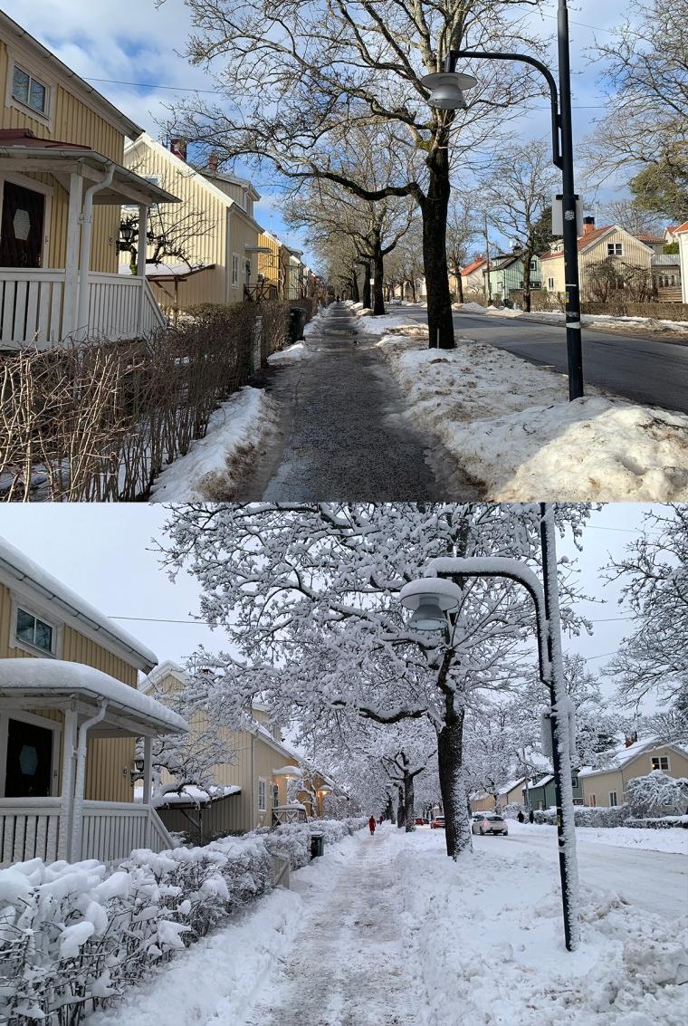 Två bilder med samma motiv. Övre med ol och smält snö, undre med en massa snö.
