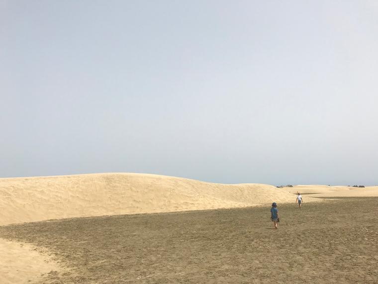 Två barn vandfrar på sanddyner.