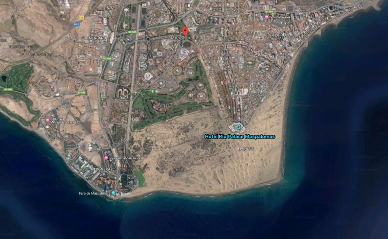 En satelitbild över området.