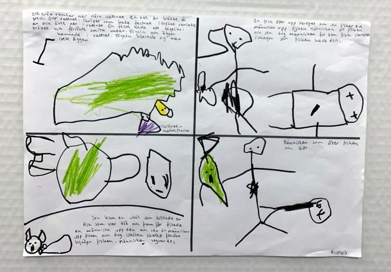 Teckningar och en skriven berättelse av ett barn.