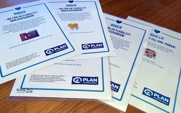 Gåvobevis från Plan International. Flickors utbildning.