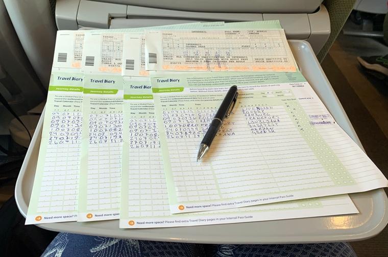 Fyra interrailkort och en penna.