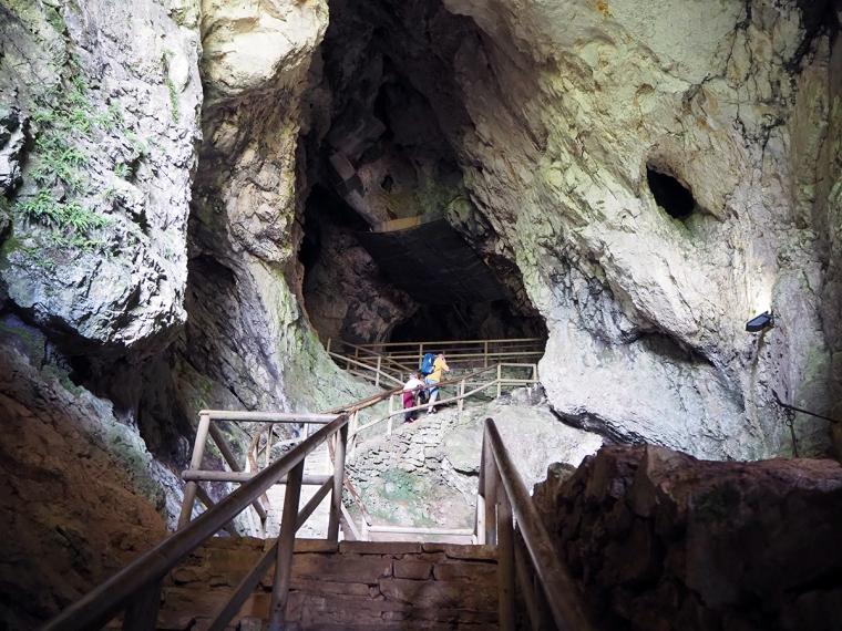 En grotta med en trätrappa upp i mörkret.