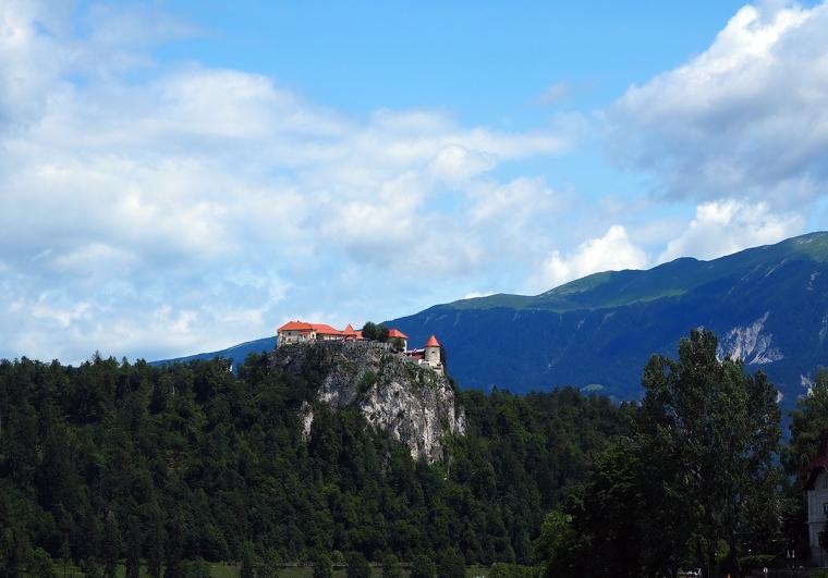Ett slott på ett berg. Vitt med tegeltak