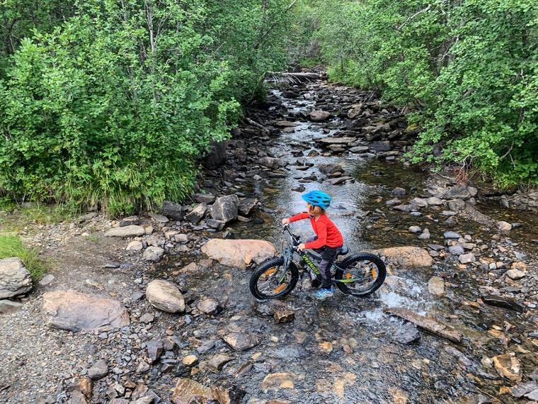 Ett barn cyklar över en bäck.
