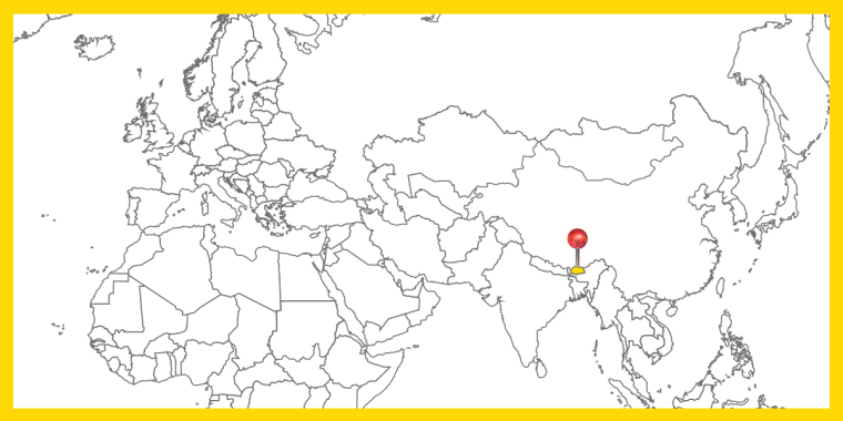 Världskarta med landet Bhutan utpekat.