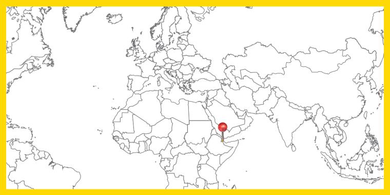 Världskarta med landet Djibouti utpekat.