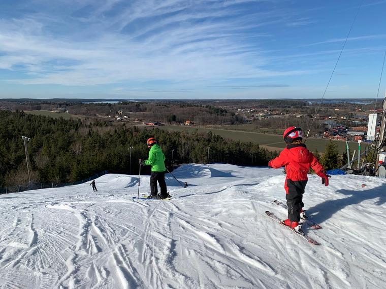 Två barn i en skidbacke med utsikt över snöfritt land.