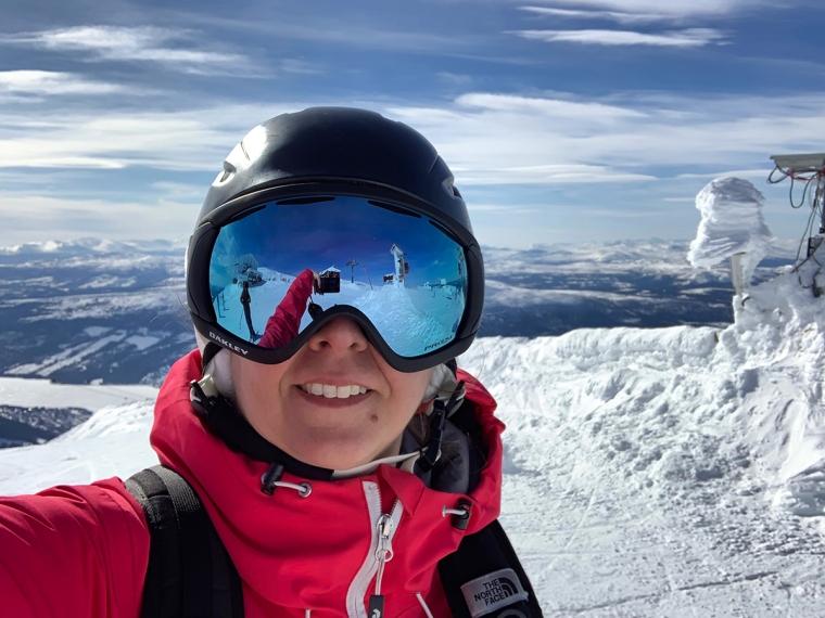 En skidåkarselfie.