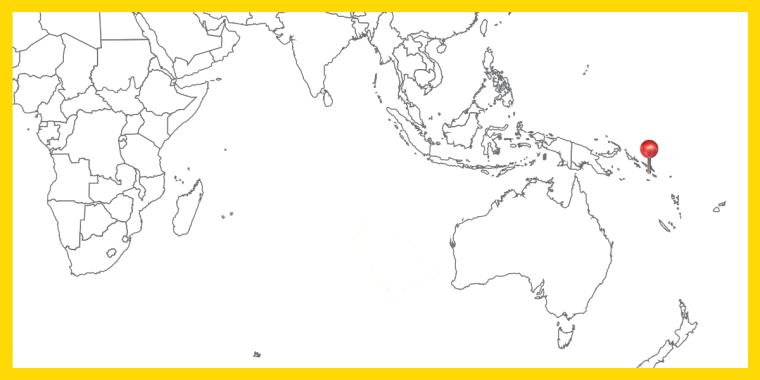 Världskarta med landet Salomonöarna utpekat.