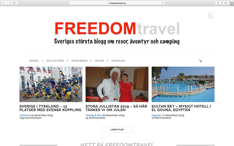 Skärmdump Freedomtravel
