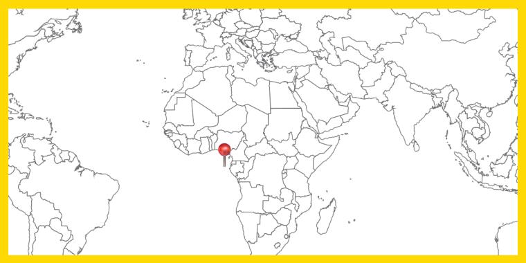 Världskarta med landet STP utpekat.