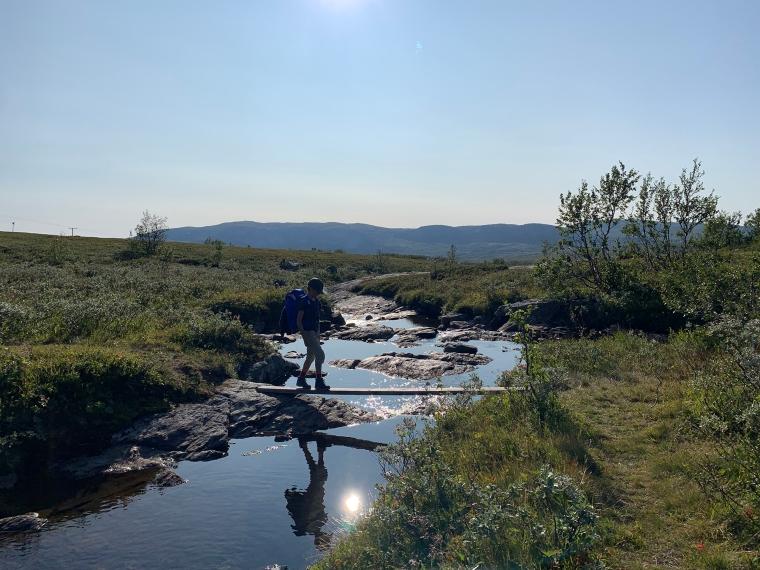 Ett barn balanserar över spång över ett vattendrag.