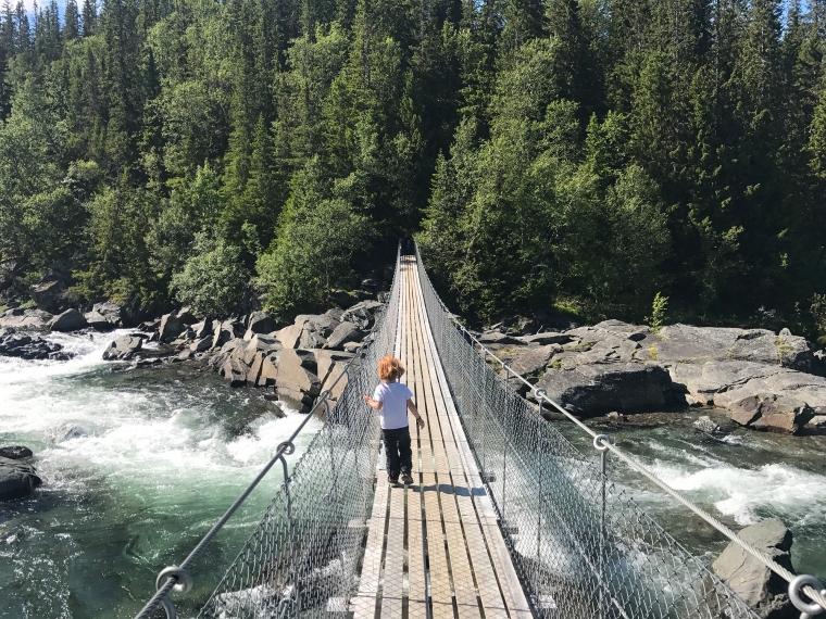 Ett barn på en hängbro som går öer ett vattenfall.
