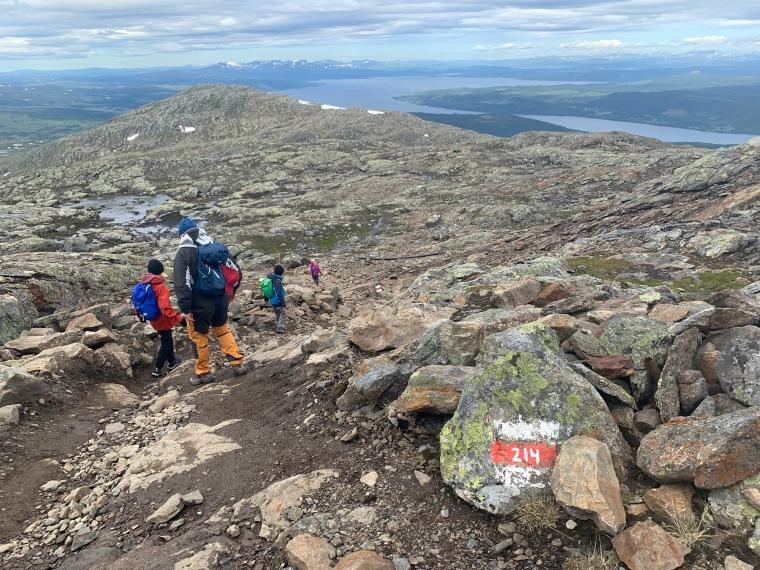 En man och två barn går nedför ett berg.