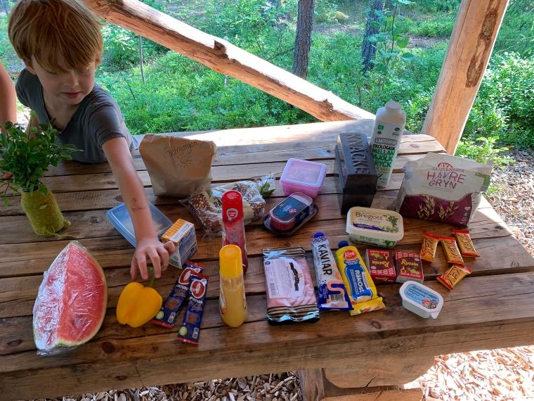 Melon, paprika, oboy, jos, sylt, ost, skinka, salami, havregryn, kaviar, mjukost, russin, smör, mjölk, ägg och tre sorters bröd.