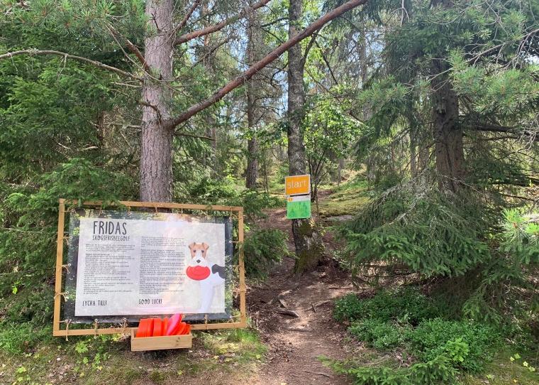 En skylt med texten Fridas skogsfrispeegolf.
