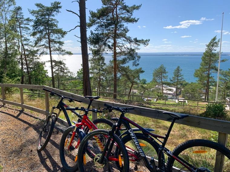 Tre mtb-cyklar står lutade mot ett träräcke.
